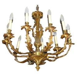 Vintage Spanish Gilt Bronze 10-Light Chandelier#2381835