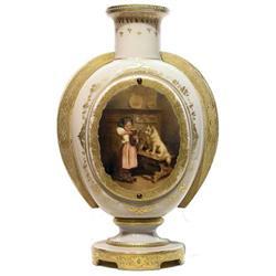 Porcelain Jewelled Gilded Handled Vase #2381839
