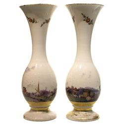 Pair Porcelain Vases with Waterfront Motif #2381840