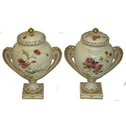 Pair Worcester Porcelain Handled Urns #2381842
