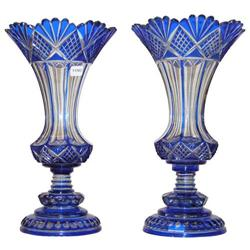 Pair Bohemian Blue Engraved Glass Vases #2381845