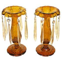 Pair Bohemian Amber Glass Lustres #2381846