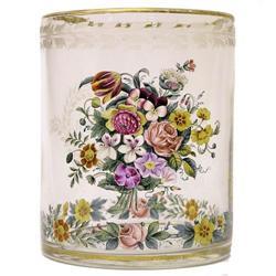 Enamelled Biedermeier Glass Beaker #2381847