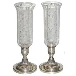 Pair Silver Candlesticks w Glass Hurricanes #2381849