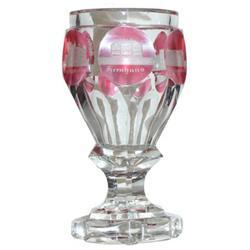 Bohemian Ruby & Clear Glass Spa Glass #2381850