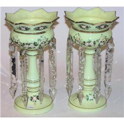 Pair Bohemian Opaline Glass Lustres #2381854