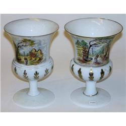 Pair Opaline Glass w Painted German Motif #2381855