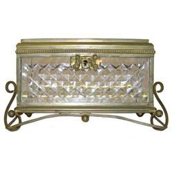 Antique Bronze Cut Glass Jewelry Dresser Box #2381857