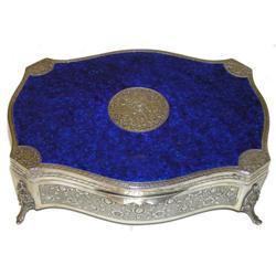 Stunning Blue Enamel & Silver Jewelry Box #2381858