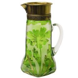 Legras Mont Joye Cameo Glass Carafe Ewer #2381870