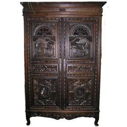Antique Baroque Revival Armoire Cabinet #2381875