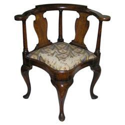 Queen Anne Period Walnut Corner Armchair #2381883