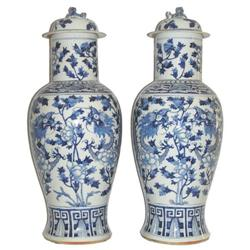 Pair Chinese Qing Blue White Porcelain Jars #2381890