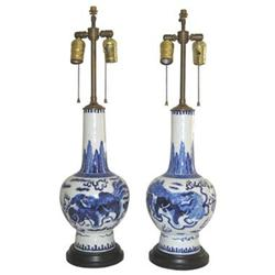 Pair Chinese Qing Porcelain Vase Lamps #2381891