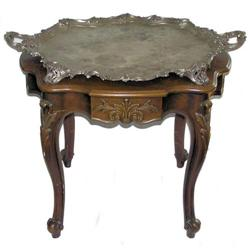 Georgian Style Tray Table with Silver Tray #2381895
