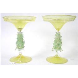 PAIR Golden Venetian Glass Compotes  #2381900