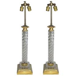Pair Vintage Cut Glass & Brass Table Lamps #2381901