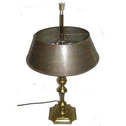 Brass Candlestick Table Lamp & Metal Shade #2381903