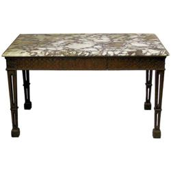 Gothic Revival Marble Top Mahogany Table #2381905