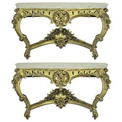 Pair French Rococo Marble Console Tables #2381908