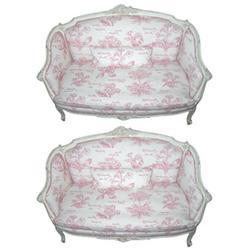 Pair Antique Louis XV Style Settees Sofas #2381910