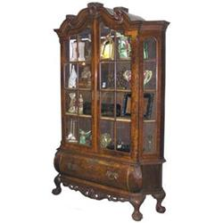 Dutch Rococo Burled Walnut Bookcase #2381917