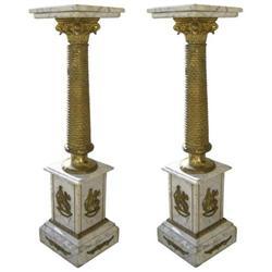 Pair Neoclassical Bronze Marble Pedestals #2381923