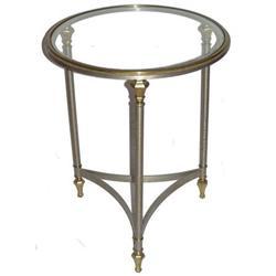 Mid-Century Nickel & Brass Gueridon Side Table #2381924