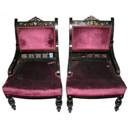 Pair Exotic Aesthetic Upholstered Chairs #2381926