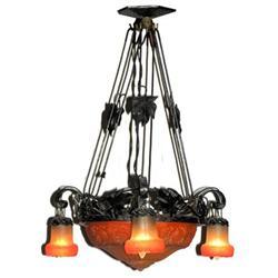 Art Nouveau Wrought Iron & Glass Chandelier #2381929