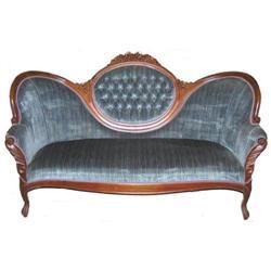 Victorian Blue Velvet Upholstered Sofa #2381935