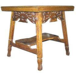 Arts & Crafts Tiger Oak Square Side Table  #2381939