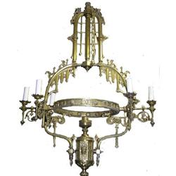 Bronze Gothic Revival Electrified Chandelier #2381944