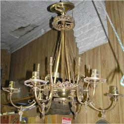 Electrified Victorian Gas Bronze Chandelier #2381945
