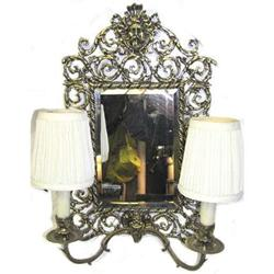 Brass Mirrored Electric 2-Candle Sconce #2381948