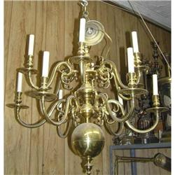 Large Polished Brass 12-Arm Chandelier #2381950