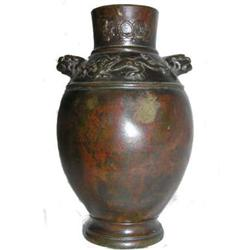 Antique Japanese Patinated Bronze Vase #2381958