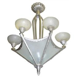 Muller Freres Art Deco Nickel Chandelier #2381964