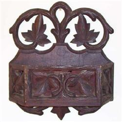 Arts & Crafts Carved Wooden Wall Pocket #2381968