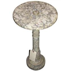 Antique Round White Marble Pedestal #2381976