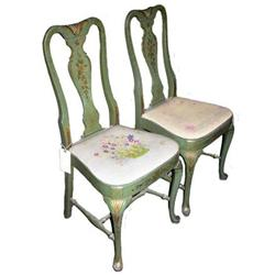 Pair Floral Painted Queen Anne Style Chairs #2381977