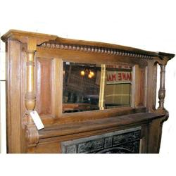 Arts & Crafts Oak Fireplace Mantle with Mirror #2381978