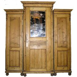 Antique Pine Classical Triple Armoire  #2381979