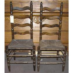 Pair of Antique Ladder Back Side Chairs #2381984