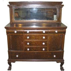 Arts & Crafts Oak Sideboard with Mirror #2381986