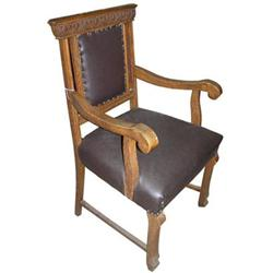 Renaissance Revival Carved Oak Armchair #2381991