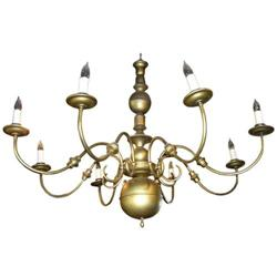 Large Brass 8 Light Electrified Chandelier #2381999