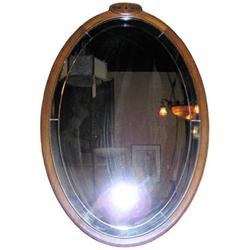 Oval Fruitwood Wall Mirror with Floral Inlay #2382004