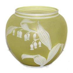 Webb Yellow/White Cameo Glass Vase #2382012