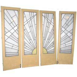 Set  4 French Art Deco Stained Glass Doors #2382017